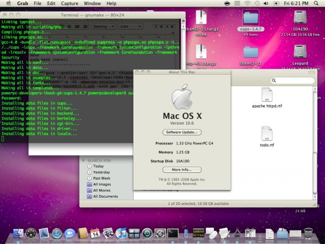 Example of Build 10A190 on a PowerBook6,5