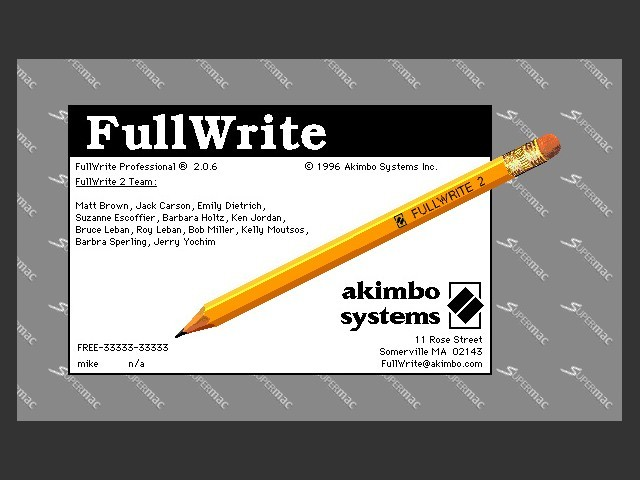 About FullWrite 2.0.6 splashscreen