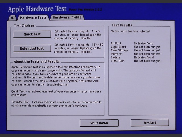 Apple Hardware Test v2.0.2 for PowerMac (2003)