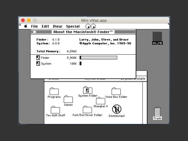 Mac System 6.0.8 for MiniVMac (1990)