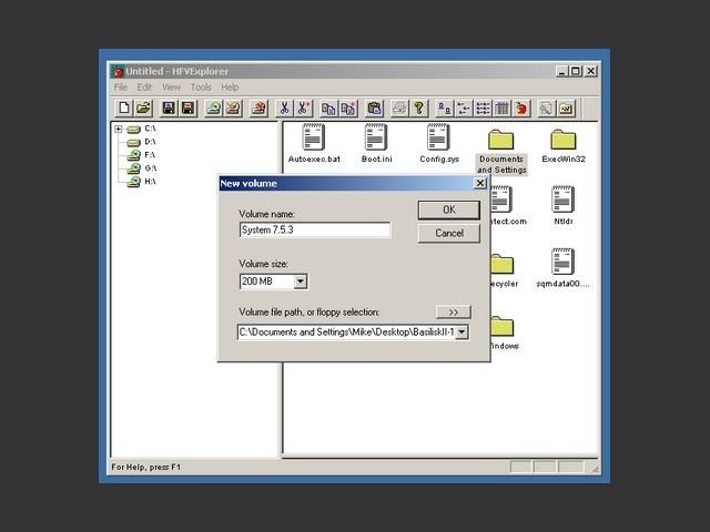 HFVExplorer / Creating an empty disk image