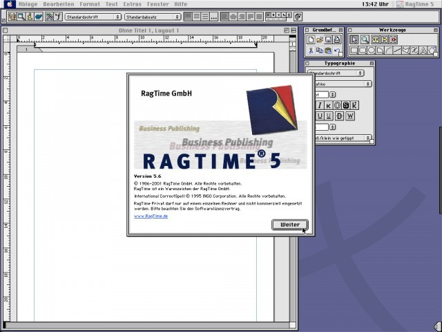 RagTime Privat on QEMU/Mac OS 9 (A-Dock on the right and Rhapsody K2 Kaleidoscope Theme)