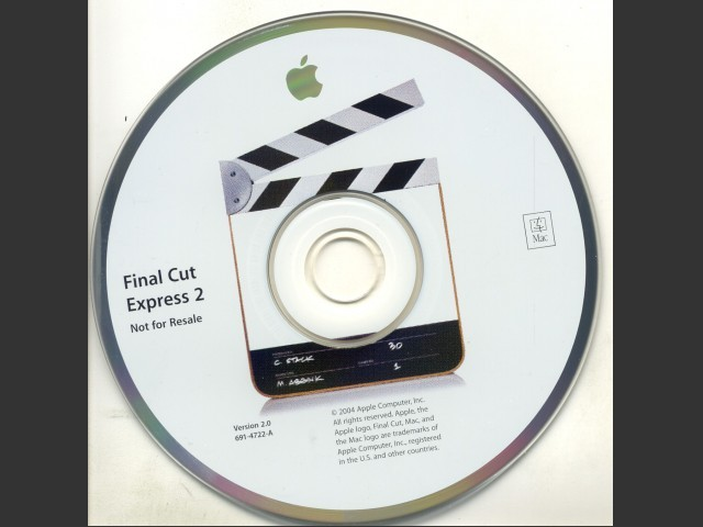 691-4722-A,,Final Cut Express v2.0 (Not For Resale) (2004)