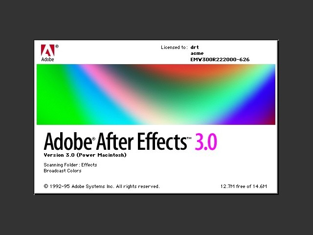 Adobe After Effects 3.0 loading screen