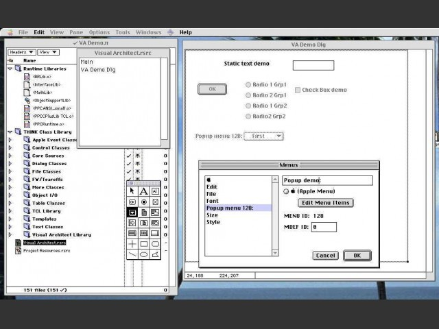 When creating the view, you select elements from the tool palette and position them in the view.