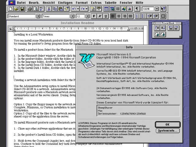 Word 6 readme and about screen