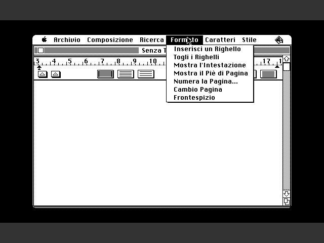 MacWrite 1.0 in Italian - Format menu