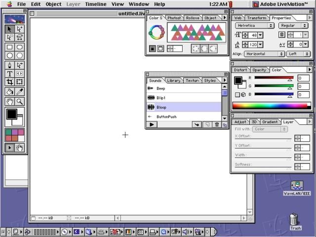 Adobe LiveMotion working area