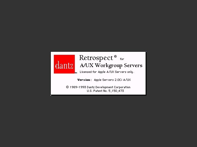 Retrospect 2.0Ci A/UX for Apple Workgroup Servers (1993)