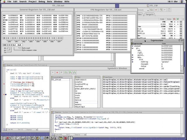 Debugger with information windows: Expressions, Symbolics (file) and Registers