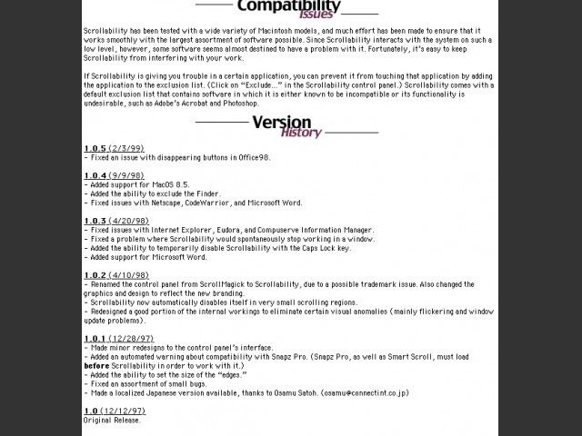 compatibility and version history