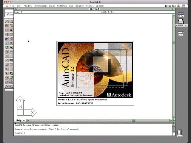 AutoCAD R12 running under Mac OS 7