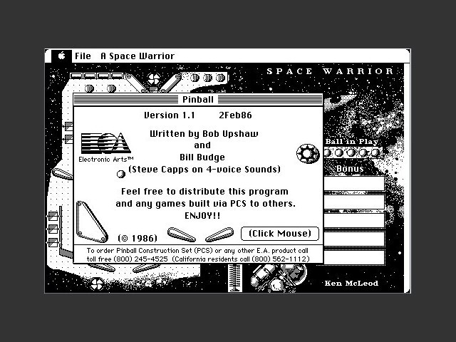 Monastery Pinball Arcade (PCS) (1986)
