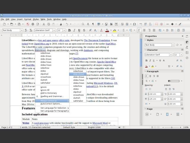 Writer screenshot