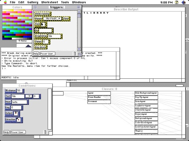 Agentsheets 1.3.0a3 & Visual AgenTalk 0.8a3 (1996)