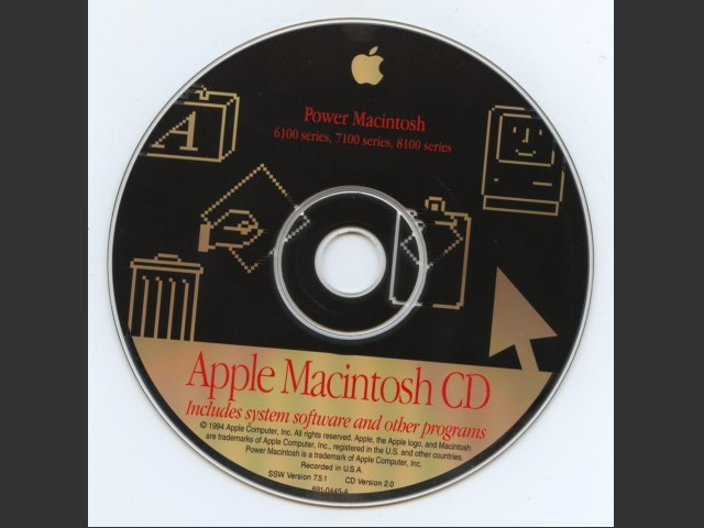 691-0445-A,,Power Macintosh 6100, 7100, and 8100 series. SSW v7.5. Disc v2.0 (CD) (1994)