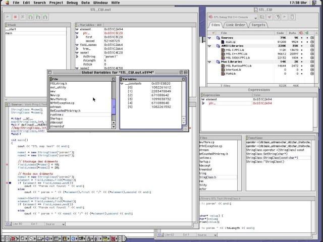 Debugger with information windows: Global variables