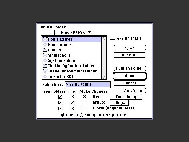 Sharing folder screen