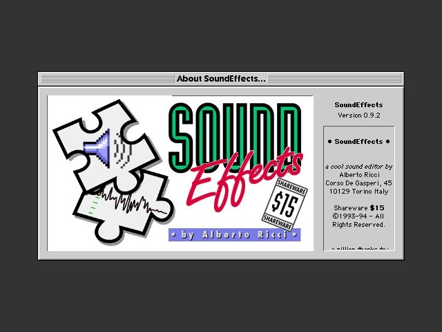 SoundEffects 0.9.2 (1995)