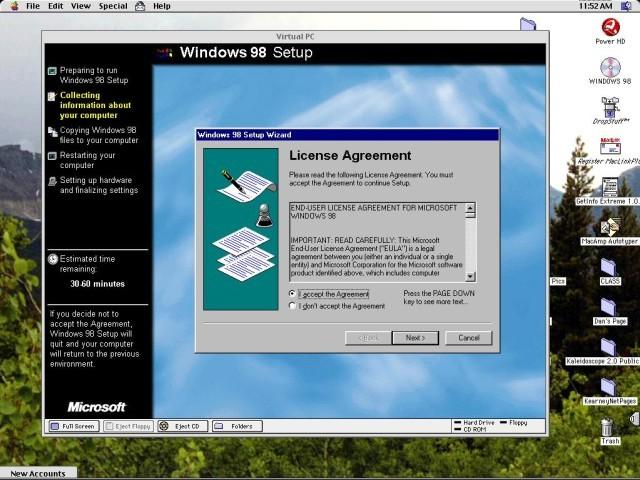 Installing Windows 98 on Virtual PC 2.0