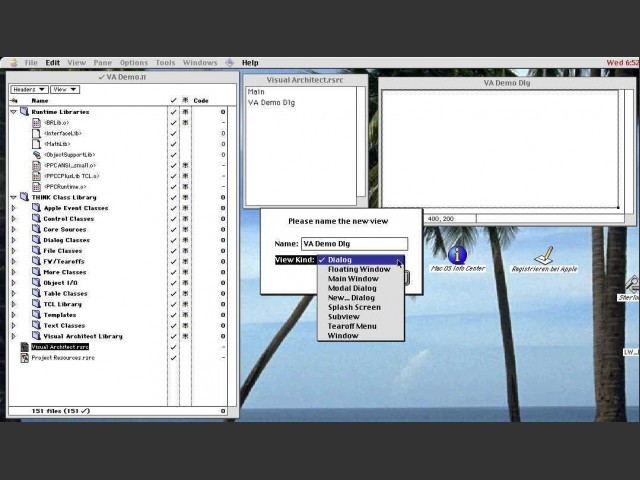 View creation dialog with the list of view types.