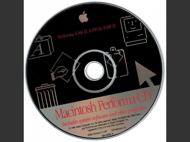 691-0290-A Macintosh Performa 630CD, 635CD, 638CD. SSW v7.1.2P CD Version 1.0 (1994)