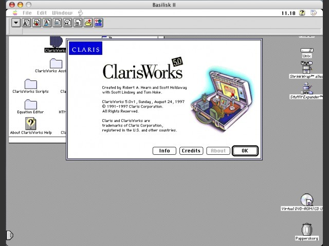 ClarisWorks 5, splash screen (Mac)