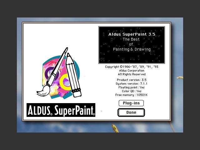 """Aldus SuperPaint 3.5  """"About"""" screen"""